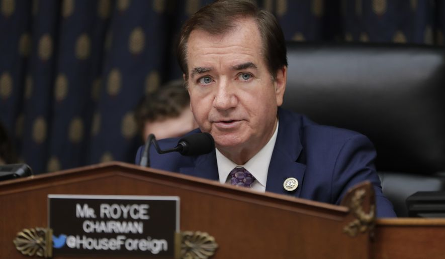 In this Oct. 12, 2017, file photo, House Foreign Affairs Committee Chairman Ed Royce, R-Calif., presides over a markup of a bill to expand sanctions against Iran with respect to its ballistic missile program, on Capitol Hill in Washington. Royce says he will not seek re-election after serving out his 13th term. (AP Photo/J. Scott Applewhite, File) **FILE**
