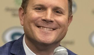 New Green Bay Packers NFL football team general manager Brian Gutekunst speaks at an introductory press conference in Green Bay, Wis., Monday, Jan. 8 , 2018. (AP Photo/Mike Roemer)