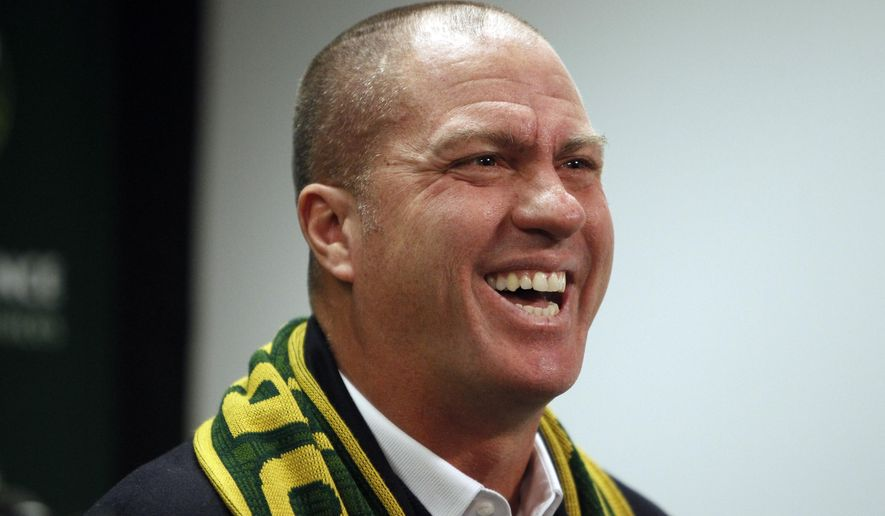 The Portland Timbers introduce new MLS soccer head coach Giovanni Savarese on Monday, Jan. 8, 2018 in Portland, Ore. (Sean Meagher/The Oregonian via AP)