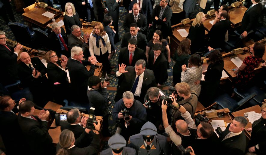 Gov. Chris Christie delivered his final state of the state address in Trenton, New Jersey on Tuesday before handing over control to Gov.-elect Phil Murphy. (Associated PRess)
