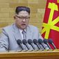In this image made from video released by KRT on Jan. 1, 2018,  North Korean leader Kim Jong-un speaks in his annual address in undisclosed location, North Korea. (KRT via AP Video)  ** FILE **