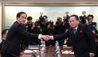 Chief North Korean delegate Ri Son Gwon (right), shaking hands with South Korean Unification Minister Cho Myoung-gyon on Tuesday, noted that his country's nuclear weapons are aimed at the United States, not South Korea. (Associated Press)