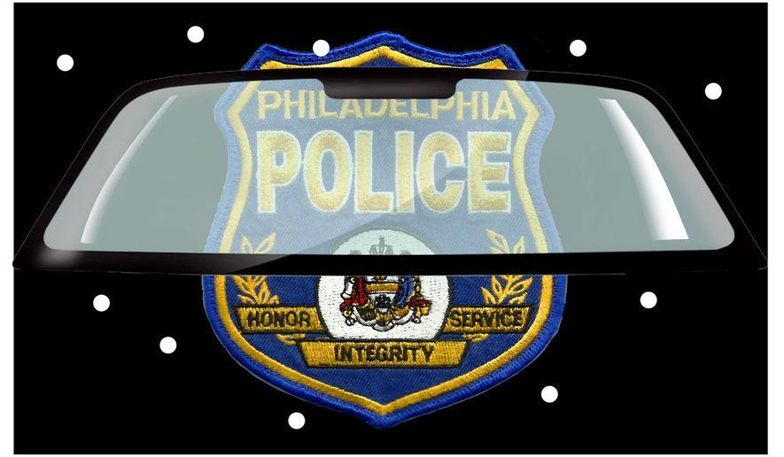 Illustration on bulletproof windshield for Philadelphia police cruisers by Alexander Hunter/The Washington Times