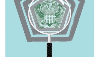Illustration on auditing the Pentagon by Linas Garsys/The Washington Times