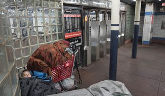 A homeless person sleeps under blankets next to a shopping cart of belongings in a New York subway station, Tuesday, Jan. 9, 2018. (AP Photo/Mark Lennihan)
