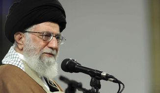 """In this picture released by official website of the office of the Iranian supreme leader, Supreme Leader Ayatollah Ali Khamenei attends a meeting with a group Qom residents, in a mosque at his residence in Tehran, Iran, Tuesday, Jan. 9, 2018. Khamenei on Tuesday blamed """"Americans and Zionists"""" for the recent protests, saying money supporting them came from """"one of the filthy-rich governments of the Persian Gulf."""" (Office of the Iranian Supreme Leader via AP)"""