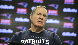 New England Patriots head coach Bill Belichick faces reporters during a news conference, Tuesday, Jan. 9, 2018, at Gillette Stadium, in Foxborough, Mass. The Patriots are scheduled to host the Tennessee Titans in an NFL divisional football AFC playoff game, Saturday, Jan. 13, 2018, in Foxborough. (AP Photo/Steven Senne)