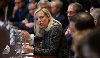 Secretary of Homeland Security Kirstjen Nielsen speaks during a meeting with President Donald Trump and lawmakers on immigration policy in the Cabinet Room of the White House, Tuesday, Jan. 9, 2018, in Washington. (AP Photo/Evan Vucci)