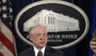In this Sept. 5, 2017, file photo, Attorney General Jeff Sessions makes a statement at the Justice Department in Washington on President Barack Obama's Deferred Action for Childhood Arrivals, or DACA program. (AP Photo/Susan Walsh, File)