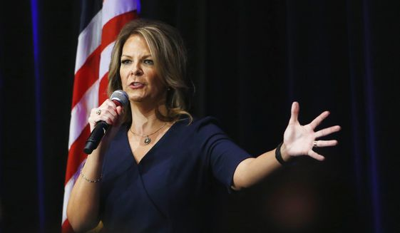 In this Oct. 17, 2017, file photo, Arizona Senate candidate Kelli Ward speaks at a campaign rally in Scottsdale, Ariz. (AP Photo/Ross D. Franklin, file) ** FILE **