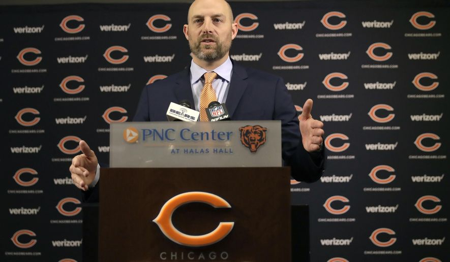 Matt Nagy responds to a question after Chicago Bears general manager Ryan Pace introduced him as the club's 16th head coach in franchise history during an NFL football news conference Tuesday, Jan. 9, 2018, in Lake Forest , Ill. (AP Photo/Charles Rex Arbogast)