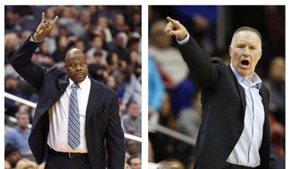 FILE - These file photos show Georgetown coach Patrick Ewing, left, on Nov. 12, 2017, and St. John's coach Chris Mullin on Dec. 31, 2017. In a throwback to their Big East days of the 1980s, Ewing and Mullin squared off as coaches of their alma maters when Georgetown played St. John's on Tuesday, Jan. 9, 2018. Ewing, a former Knicks great, is returning to Madison Square Garden for the first time as the Hoyas' coach. (AP Photos/File) **FILE**