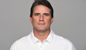 FILE - This is a May 4, 2017, file photo showing Carolina Panthers NFL football team offensive coordinator Mike Shula. The Panthers fired offensive coordinator Mike Shula and quarterbacks coach Ken Dorsey, Tuesday, Jan. 9, 2018, two days after a playoff loss to the New Orleans Saints. Shula spent seven seasons with Carolina, working as the quarterbacks coach before being promoted to offensive coordinator in 2013. (AP Photo/File)