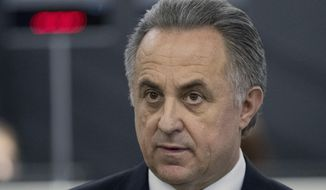 FILE - In this file photo taken on Thursday, Dec. 7, 2017, Vitaly Mutko, Russian Federation Deputy Prime Minister & Russia 2018 WCup Local Organising Committee Chairman, at an event in Moscow, Russia. The Court of Arbitration for Sport says Russian Deputy Prime Minister Vitaly Mutko has filed an appeal against his lifetime ban from the Olympics. Mutko, a former sports minister, was deeply implicated in Russia's doping plot at the 2014 Sochi Olympics by two IOC commissions and a World Anti-Doping Agency investigation. (AP Photo/Pavel Golovkin, File)