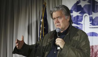 In this Nov. 9, 2017, file photo, Steve Bannon, speaks during an event in Manchester, N.H. (AP Photo/Mary Schwalm, File)