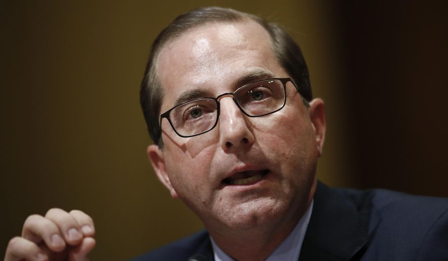 Alex Azar testifies during a Senate Finance Committee hearing on Capitol Hill in Washington, Tuesday, Jan. 9, 2018, to consider his nomination to be Secretary of Health and Human Services.  (AP Photo/Carolyn Kaster)