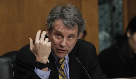 Senate Finance Committee member Sen. Sherrod Brown, D-Ohio, questions Alex Azar during a Senate Finance Committee hearing on Capitol Hill in Washington, Tuesday, Jan. 9, 2018, to consider Azar's nomination to be Secretary of Health and Human Services. (AP Photo/Carolyn Kaster) ** FILE **
