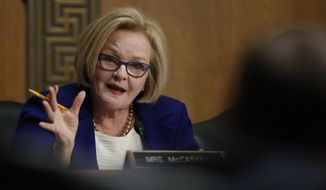 Senate Finance Committee member Sen. Claire McCaskill, D-Mo., questions Alex Azar during a Senate Finance Committee hearing on Capitol Hill in Washington, Tuesday, Jan. 9, 2018, to consider Azar's nomination to be Secretary of Health and Human Services. (AP Photo/Carolyn Kaster) ** FILE **