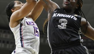 Central Florida's Zakiya Saunders, right, blocks a shot by Connecticut's Gabby Williams, left, during the first half an NCAA college basketball game, Tuesday, Jan. 9, 2018, in Storrs, Conn. (AP Photo/Jessica Hill)