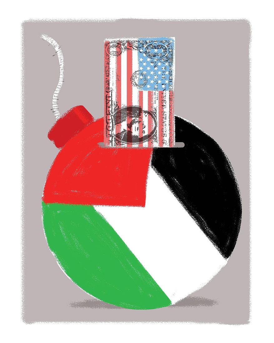 Illustration on problems with continued U.S. support of the Palestinians by Linas Garsys/The Washington Times