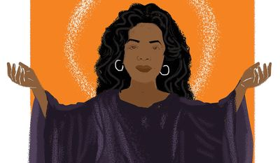 Illustration on the messianic role ascribed by some to Oprah Winfrey by Linas Garsys/The Washington Times