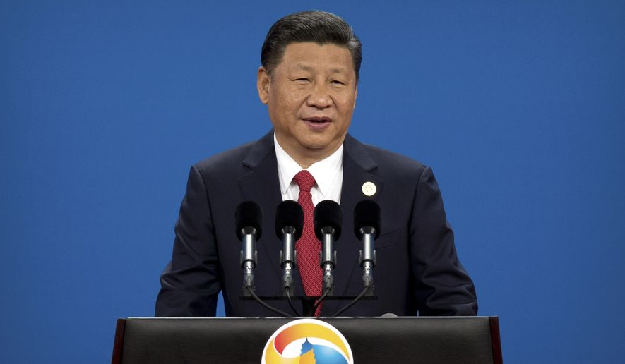 In this May 14, 2017, file photo, Chinese President Xi Jinping speaks during the opening ceremony of the Belt and Road Forum at the China National Convention Center in Beijing. (AP Photo/Mark Schiefelbein, File)