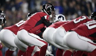 The Atlanta Falcons quarterback Matt Ryan in action during the first half of an NFL football wild-card playoff game against the Los Angeles Rams Saturday, Jan. 6, 2018, in Los Angeles. (AP Photo/Kelvin Kuo)