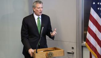 New York City Mayor Bill de Blasio speaks at a plaque dedication ceremony at the Central Park police precinct in New York, Wednesday, Jan. 10, 2018. (AP Photo/Seth Wenig)