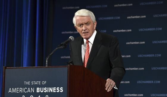 U.S. Chamber of Commerce President and Chief Executive Officer Thomas Donohue delivers his annual 'State of American Business' address at the Chamber of Commerce in Washington, Wednesday, Jan. 10, 2018. Donohue is calling on Congress to reform immigration laws in order to retain more than a million immigrants currently allowed to work in the country but are at risk of losing their status. (AP Photo/Susan Walsh)
