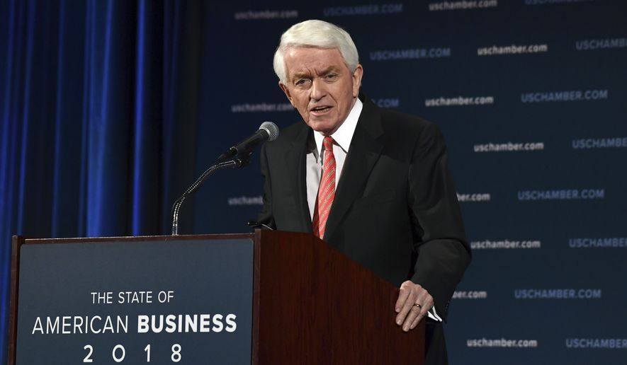 U.S. Chamber of Commerce President and Chief Executive Officer Thomas Donohue delivers his annual 'State of American Business' address at the Chamber of Commerce in Washington, Wednesday, Jan. 10, 2018. Donohue is calling on Congress to reform immigration laws in order to retain over one million immigrants currently allowed to work in the country but are at risk of losing their status. (AP Photo/Susan Walsh)