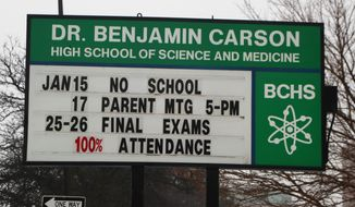 """The Dr. Benjamin Carson information sign is seen outside the school, Wednesday, Jan. 10, 2018. The Detroit Board of Education approved a new policy Tuesday that allows the district to rename buildings already named after living people. The new policy on naming and remaining schools in the district, approved in a 4-3 vote, says in part the board may change the name of a school for reasons that """"the school community's opinion that the name of the school no longer represents the culture or population of the geographic area in which the school is located."""" (AP Photo/Carlos Osorio)"""