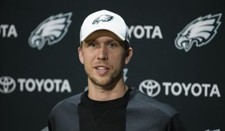 Philadelphia Eagles quarterback Nick Foles speaks with members of the media at the team's NFL football training facility in Philadelphia, Tuesday, Jan. 9, 2018. (AP Photo/Matt Rourke) **FILE**