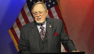 FILE - In this Nov. 3, 2016, file photo, U.S. Rep. Don Young, R-Alaska, appears for a televised debate in Anchorage, Alaska. Young succeeds 88-year-old Rep. John Conyers as dean, largely a ceremonial post whose main duty is to swear in the House speaker after elections. (AP Photo/Mark Thiessen, file)