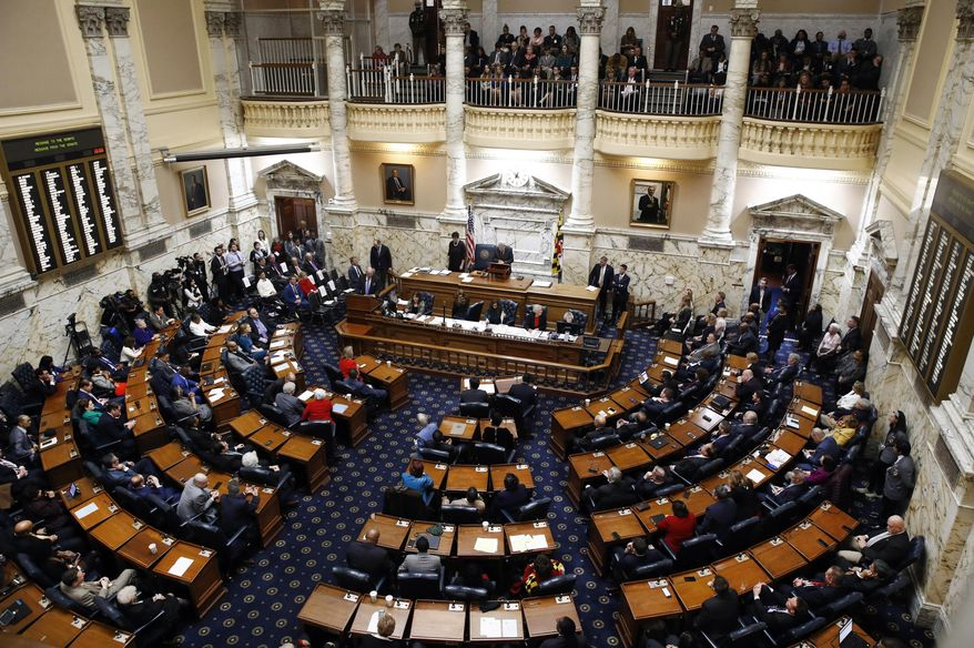 In this file photo, members of the Maryland House of Delegates convene at the Maryland State House in Annapolis, Md., Wednesday, Jan. 10, 2018, the first day of the state's 2018 legislative session. (AP Photo/Patrick Semansky) **FILE**