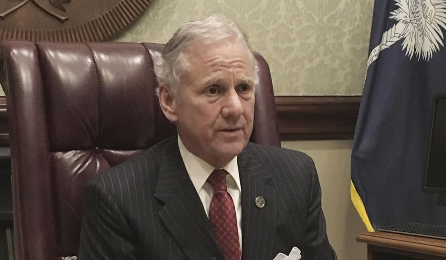 In a Wednesday, Feb. 15, 2017 file photo, South Carolina Gov. Henry McMaster speaks to a reporter during an interview, in Columbia, S.C. McMaster told reporters Wednesday, Jan. 10, 2018, that he is seeking an exemption from the Trump administration's offshore drilling expansion. (AP Photo/Seanna Adcox, File)