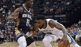 Memphis Grizzlies guard Tyreke Evans, right, controls the ball against New Orleans Pelicans guard Jrue Holiday (11) during the second half of an NBA basketball game Wednesday, Jan. 10, 2018, in Memphis, Tenn. The Grizzlies won 105-102. (AP Photo/Brandon Dill)
