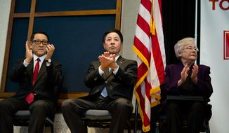 Alabama Gov. Kay Ivey, right, Masamichi Kogai, Mazda Motor Corp. president and CEO,  and Akio Toyoda, Toyota Motor Corp. president, applaud during a press conference, Wednesday, Jan. 10, 2018, in Montgomery, Ala., where the Japanese automakers announced plans to build a huge $1.6 billion joint-venture plant in Huntsville, that will eventually employ about 4,000 people. Several states had competed for the coveted project, which will be able to turn out 300,000 vehicles per year and will produce the Toyota Corolla compact car for North America and a new small SUV from Mazda.  (Albert Cesare/The Montgomery Advertiser via AP)