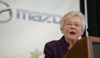 Alabama Gov. Kay Ivey speaks during a press conference, Wednesday, Jan. 10, 2018, in Montgomery, Ala., where the Japanese automakers Mazda and Toyota announced plans to build a huge $1.6 billion joint-venture plant in Huntsville, that will eventually employ about 4,000 people. (Albert Cesare/The Montgomery Advertiser via AP) ** FILE **