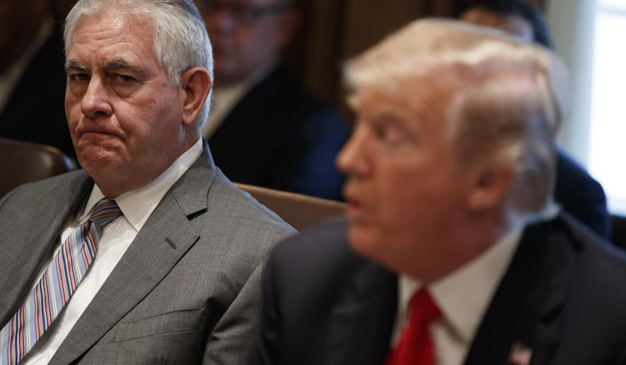Secretary of State Rex Tillerson, left, listens to President Donald Trump speak during a cabinet meeting at the White House, Wednesday, Jan. 10, 2018, in Washington. (AP Photo/Evan Vucci)