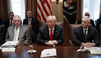 Secretary of State Rex Tillerson, left, and Secretary of Defense Jim Mattis, right, listen as President Donald Trump speaks during a cabinet meeting at the White House, Wednesday, Jan. 10, 2018, in Washington. (AP Photo/Evan Vucci)