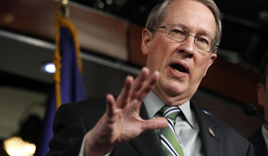 House Judiciary Committee Chairman Rep. Bob Goodlatte, R-Va., speaks about immigration, Wednesday, Jan. 10, 2018, on Capitol Hill in Washington. The news conference was on Goodlatte's immigration bill that would impact recipients of the Deferred Action for Childhood Arrivals (DACA) program. (AP Photo/Jacquelyn Martin)