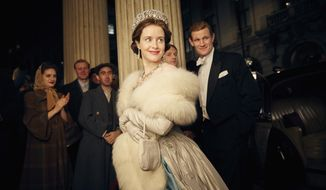 "This image released by Netflix shows Claire Foy, center, and Matt Smith, right, in a scene from ""The Crown."" The New York Times website recaps each episode of ""The Crown"" in text stories, but it goes the extra mile. Through the miracle of hyperlinks and its own ""Times Machine"" function, the site links wanderers to the paper's original reporting _ and its original pages in PDFs detailing numerous actual events covered in the series. (Robert Viglasky/Netflix via AP)"