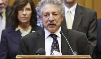 FILE - In this Nov. 4, 2015, file photo, Madison Mayor Paul Soglin speaks at a news conference in Madison, Wis. Soglin officially joined the race for Wisconsin governor Wednesday, Jan. 10, 2018, after months of speculation. He becomes the ninth top-tier Democrat in a crowded field that will square off in the August primary. (Amber Arnold/Wisconsin State Journal via AP, File)