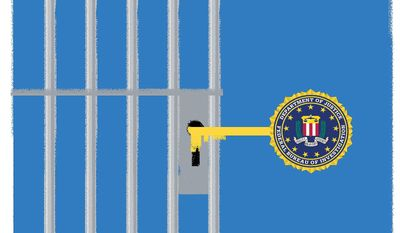 Illustration on the lack of prosecution over FBI and Justice Department corruption by Lina Garsys/The Washington Times