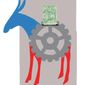 Illustration on union dues used to support Democrat causes by Linas Garsys/The Washington Times