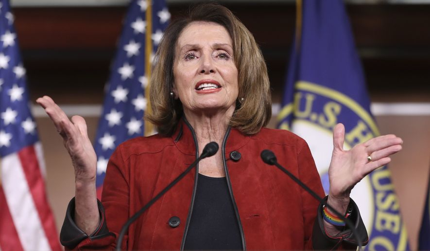 House Minority Leader Nancy Pelois of California, gestures as she speaks during a news conference, Thursday, Jan. 11, 2018, on Capitol Hill in Washington. (AP Photo/Pablo Martinez Monsivais)