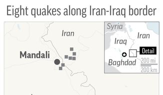 Map locates eight quakes along Iran-Iraq border; 2c x 3 1/2 inches; 96.3 mm x 88 mm;