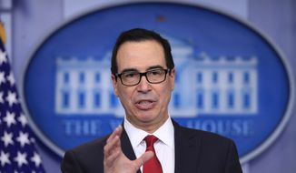 Treasury Secretary Steven Mnuchin, speaks to reporters during a White House daily press briefing in the Brady press briefing room at the White House, in Washington, Thursday, Jan. 11, 2018. (AP Photo/Manuel Balce Ceneta)