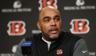 Cincinnati Bengals new NFL football defensive coordinator Teryl Austin speaks during an introductory news conference at Paul Brown Stadium, Thursday, Jan. 11, 2018, in Cincinnati.  (AP Photo/John Minchillo)