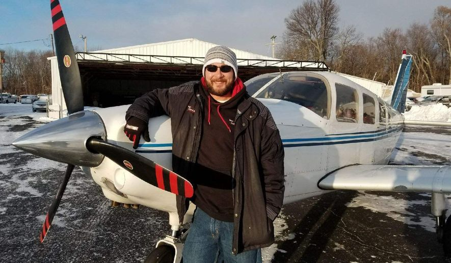 Dustin Shaffer is the owner and pilot of Island Air Taxi. Craig Shoup/USA TODAY Network - Ohio Dustin Shaffer, owner and pilot of Island Air Taxi, said he makes 20 to 30 trips per day when Lake Erie is frozen.  (Craig Shoup/News-Messenger via AP)
